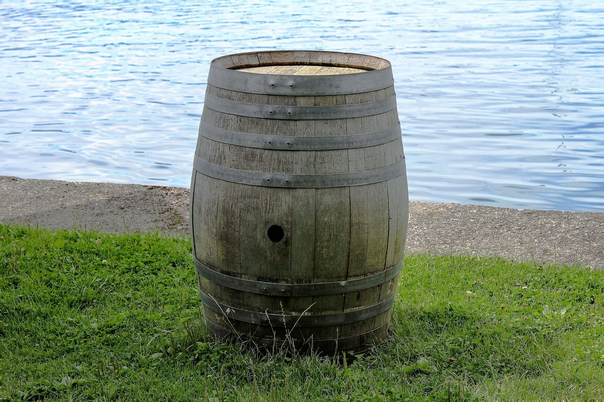 barrel by river